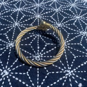 Gold silver mix metal cable bangle